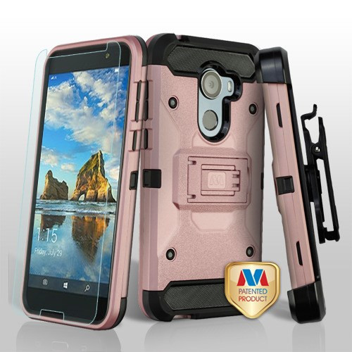 MyBat 3-in-1 Kinetic Hybrid Protector Cover Combo (with Black Holster)(Tempered Glass Screen Protector) for Alcatel Walters - Rose Gold / Black