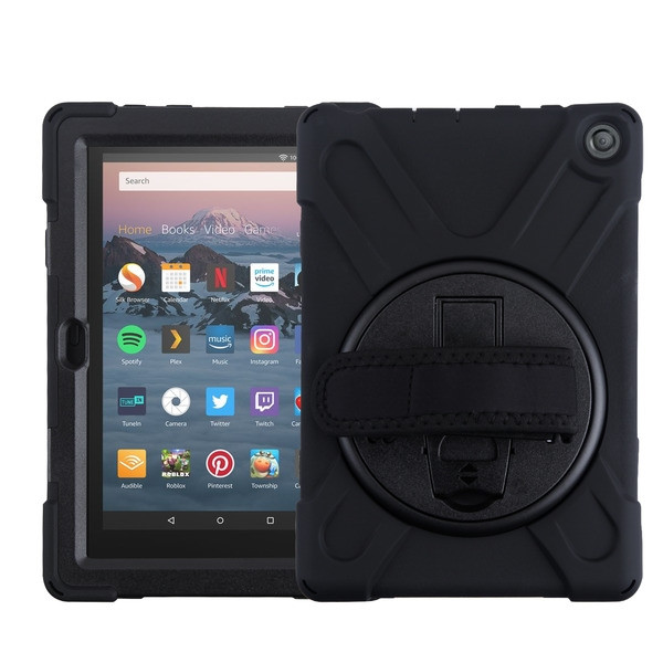 MyBat Rotatable Stand Protector Case (with Wristband) for Amazon Fire HD 8 (2020)/Fire HD 8 Plus (2020) - Black / Black