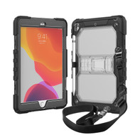 MyBat Heavy Duty Case with Shoulder Strap and Kickstand for Apple iPad 10.2 (2019) (A2197, A2200, A2198) - Transparent Clear / Black