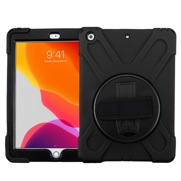 MyBat Rotatable Stand Protector Cover (with Wristband) for Apple iPad 10.2 (2019) (A2197, A2200, A2198) - Black / Black
