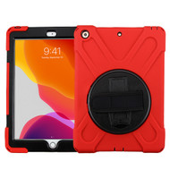 MyBat Rotatable Stand Protector Cover (with Wristband) for Apple iPad 10.2 (2019) (A2197, A2200, A2198) - Black / Red