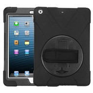 MyBat Rotatable Stand Protector Cover (with Wristband) for Apple iPad Air (A1474,A1475,A1476) - Black / Black