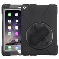 MyBat Rotatable Stand Protector Cover (with Wristband) for Apple iPad Air 2 (A1566,A1567) - Black / Black