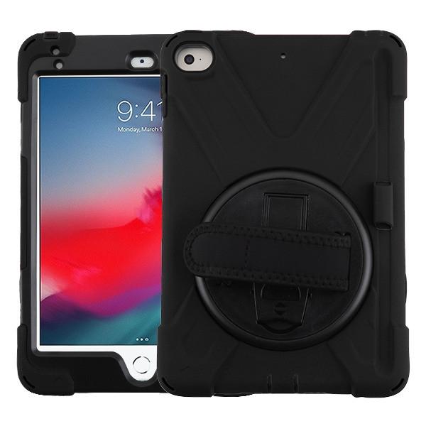 MyBat Rotatable Stand Protector Cover (with Wristband) for Apple iPad mini (2019) - Black / Black