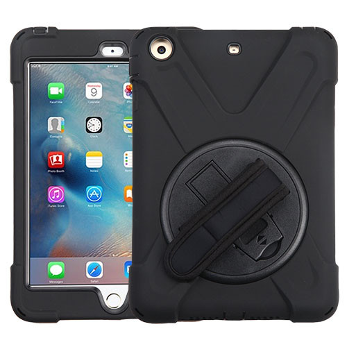 MyBat Rotatable Stand Protector Cover (with Wristband) for Apple iPad mini (A1432,A1454,A1455) - Black / Black