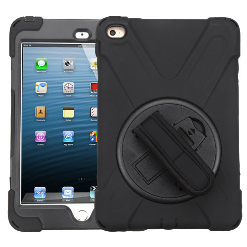 MyBat Rotatable Stand Protector Cover (with Wristband) for Apple iPad mini 4 (A1538,A1550) - Black / Black