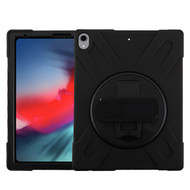 MyBat Rotatable Stand Protector Cover (with Wristband) for Apple iPad Pro 12.9 (2018) (A1876,A1895,A1983,A2014) - Black / Black