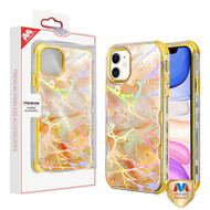 MyBat TUFF Kleer Hybrid Case for Apple iPhone 11 - Pale Yellow Marbling / Electroplating Gold
