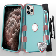 Aquamarine/Red Wood TUFF Hybrid Phone Protector Cover [Military-Grade Certified](with Black Horizontal Holster)