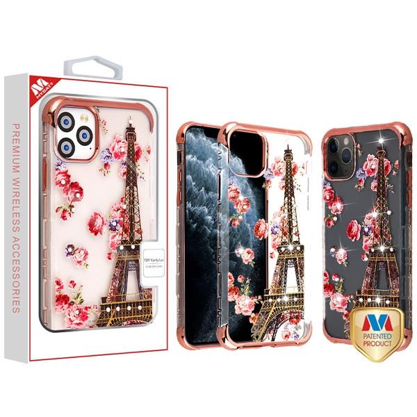 MyBat Diamante TUFF Klarity Lux Candy Skin Cover for Apple iPhone 11 Pro - Rose Gold Plating / Paris in Full Bloom