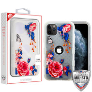MyBat TUFF Hybrid Protector Cover [Military-Grade Certified] for Apple iPhone 11 Pro - Semi Transparent White Frosted Peach Rose Garden / Transparent White