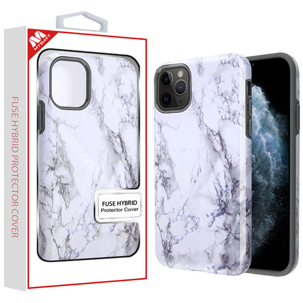 MyBat Fuse Hybrid Protector Cover for Apple iPhone 11 Pro - White Marbling / Iron Gray