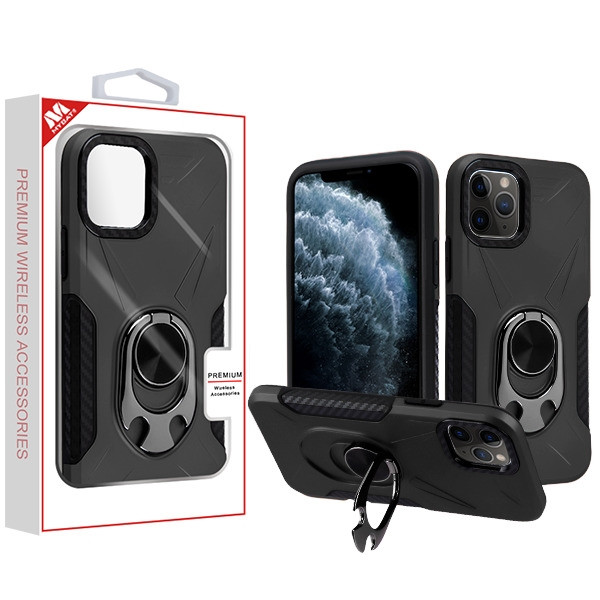 MyBat Hybrid Protector Cover (with Ring Holder Kickstand Bottle) for Apple iPhone 11 Pro - Black / Black