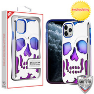 MyBat SKULLCAP Lucid Hybrid Protector Cover [Military-Grade Certified] for Apple iPhone 11 Pro - Silver Plating / Blue / Purple