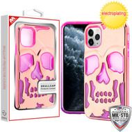 MyBat SKULLCAP Lucid Hybrid Protector Cover [Military-Grade Certified] for Apple iPhone 11 Pro - Rose Gold Plating / Hot Pink / Purple