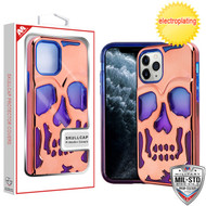 MyBat Skullcap Lucid Hybrid Protector Cover [Military-Grade Certified] for Apple iPhone 11 Pro - Rose Gold Plating / Blue / Purple