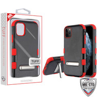 MyBat TUFF Hybrid Protector Cover (with Magnetic Metal Stand)[Military-Grade Certified] for Apple iPhone 11 Pro - Natural Black / Red