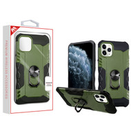 MyBat Hybrid Protector Cover (with Ring Stand) for Apple iPhone 11 Pro - Green / Black