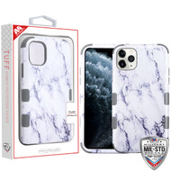 MyBat TUFF Hybrid Protector Cover [Military-Grade Certified] for Apple iPhone 11 Pro - White Marbling / Iron Gray
