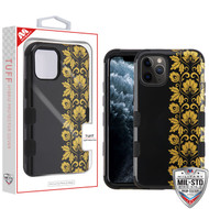 MyBat TUFF Hybrid Protector Cover [Military-Grade Certified] for Apple iPhone 11 Pro - Gold Floral Stripe / Black