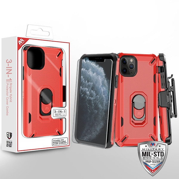 MyBat 3-in-1 Brigade Hybrid Protector Cover Combo (with Black Holster)(with Ring Stand)(Tempered Glass Screen Protector) for Apple iPhone 11 Pro - Red / Black