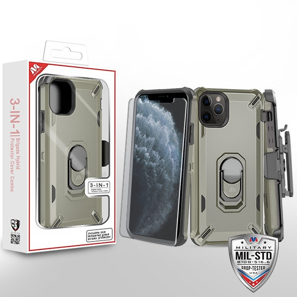 MyBat 3-in-1 Brigade Hybrid Protector Cover Combo (with Black Holster)(with Ring Stand)(Tempered Glass Screen Protector) for Apple iPhone 11 Pro - Dark Grey / Black