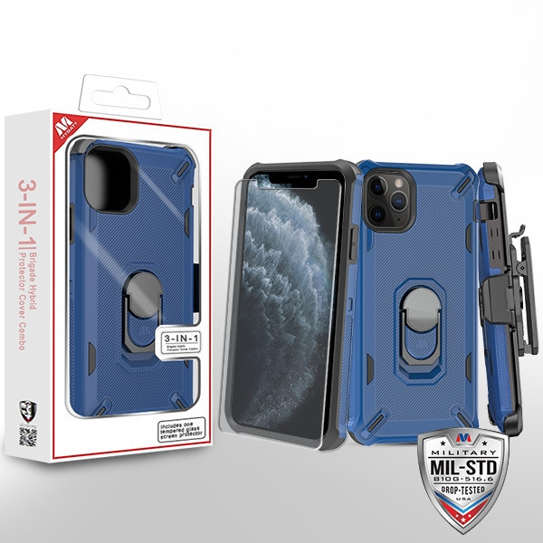 MyBat 3-in-1 Brigade Hybrid Protector Cover Combo (with Black Holster)(with Ring Stand)(Tempered Glass Screen Protector) for Apple iPhone 11 Pro - Ink Blue / Black