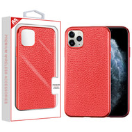 MyBat Leather Backing Protector Cover for Apple iPhone 11 Pro - Red Electroplating