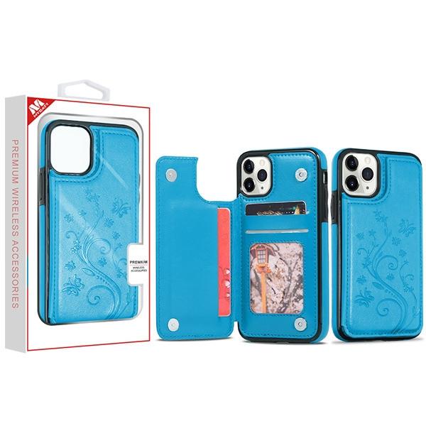 MyBat 3D Butterfly Flower Stow Wallet Case for Apple iPhone 11 Pro - Blue
