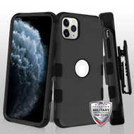 MyBat TUFF Hybrid Protector Case [Military-Grade Certified](with Black Horizontal Holster) for Apple iPhone 11 Pro - Rubberized Black / Black