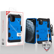 MyBat 3-in-1 Storm Tank Hybrid Protector Cover Combo (with Black Holster)(Tempered Glass Screen Protector)[Military-Grade Certified] for Apple iPhone 11 Pro - Blue / Black