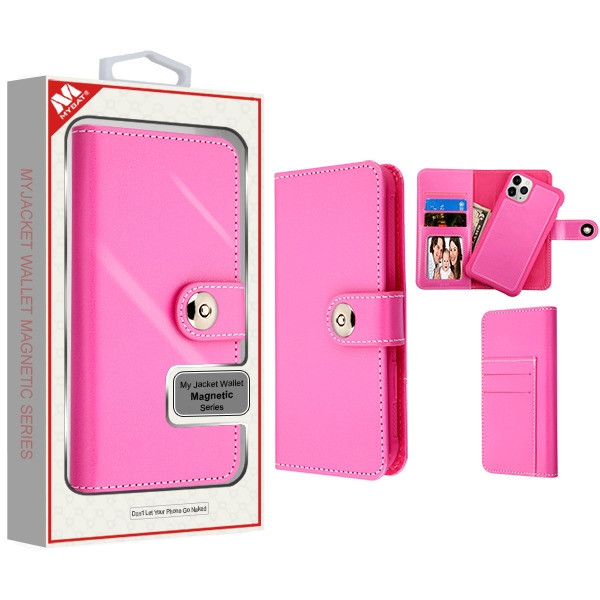 MyBat Detachable Magnetic 2 - in - 1 MyJacket Wallet (TPU Case + Leather Folio) for Apple iPhone 11 Pro Max - Hot Pink