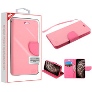 MyBat Liner MyJacket Wallet Crossgrain Series for Apple iPhone 11 Pro Max - Pink Pattern / Hot Pink