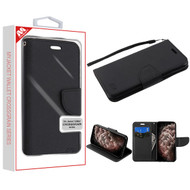 MyBat Liner MyJacket Wallet Crossgrain Series for Apple iPhone 11 Pro Max - Black Pattern / Black