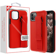 MyBat Fuse Hybrid Protector Cover (With Red Wristband Stand) for Apple iPhone 11 Pro Max - Rubberized Red / Black