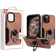 MyBat Hybrid Protector Cover (with Ring Holder Kickstand Bottle) for Apple iPhone 11 Pro Max - Rose Gold / Black