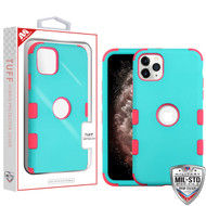 MyBat TUFF Hybrid Protector Cover [Military-Grade Certified] for Apple iPhone 11 Pro Max - Rubberized Teal Green / Electric Pink