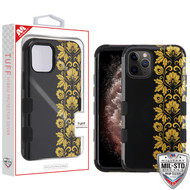 MyBat TUFF Hybrid Protector Cover [Military-Grade Certified] for Apple iPhone 11 Pro Max - Gold Floral Stripe / Black