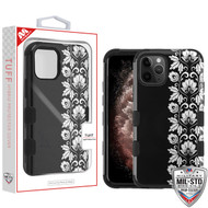 MyBat TUFF Hybrid Protector Cover [Military-Grade Certified] for Apple iPhone 11 Pro Max - Silver Floral Stripe / Black