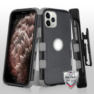 MyBat TUFF Hybrid Protector Case [Military-Grade Certified](with Black Horizontal Holster) for Apple iPhone 11 Pro Max - Natural Black / Iron Gray