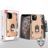 MyBat 3-in-1 Brigade Hybrid Protector Cover Combo (with Black Holster)(with Ring Stand)(Tempered Glass Screen Protector) for Apple iPhone 11 Pro Max - Rose Gold / Black