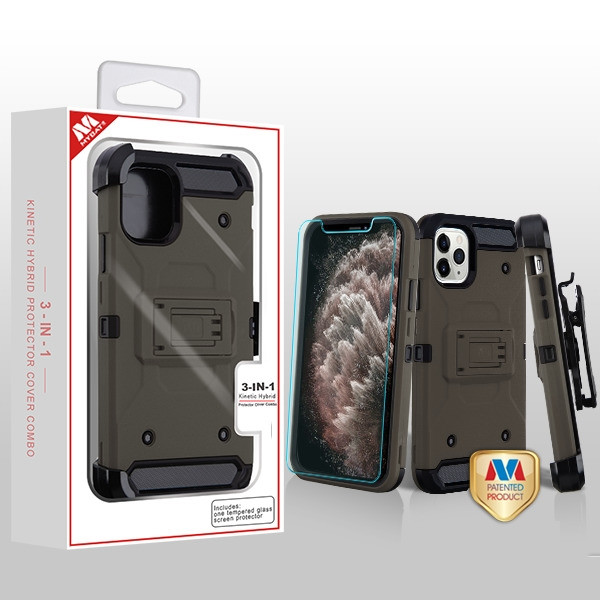 MyBat 3-in-1 Kinetic Hybrid Protector Cover Combo (with Black Holster)(Tempered Glass Screen Protector) for Apple iPhone 11 Pro Max - Dark Grey / Black