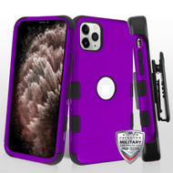 MyBat TUFF Hybrid Protector Case [Military-Grade Certified](with Black Horizontal Holster) for Apple iPhone 11 Pro Max - Rubberized Grape / Black