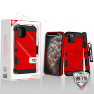 MyBat 3-in-1 Storm Tank Hybrid Protector Cover Combo (with Black Holster)(Tempered Glass Screen Protector)[Military-Grade Certified] for Apple iPhone 11 Pro Max - Red / Black