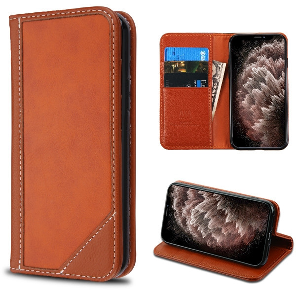 MyBat Genuine Leather MyJacket Wallet for Apple iPhone 11 Pro Max - Brown