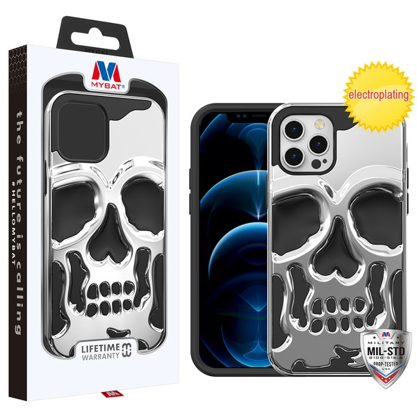 MyBat Skullcap Hybrid Protector Cover for Apple iPhone 12 (6.1) - Silver Plating / Black