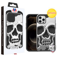 MyBat Skullcap Hybrid Protector Cover for Apple iPhone 12 Pro Max (6.7) - Silver Plating / Black