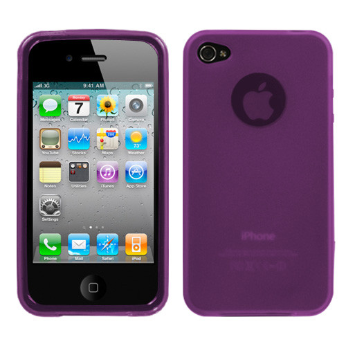 MyBat Candy Skin Cover (Rubberized) for Apple iPhone 4s/4 - Semi Transparent Purple