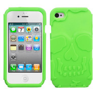 MyBat Skullcap Base Hybrid Protector Cover for Apple iPhone 4s/4 - Electric Green