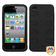 MyBat Fishbone Protector Cover for Apple iPhone 4s/4 - Rubberized Black / Black